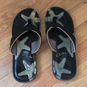 Clarks Leather Flip Flops Sandals